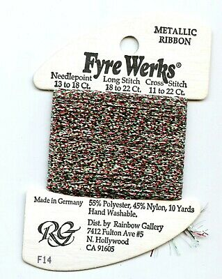 "Rainbow Gallery Fyre Werks F14 Christmas 1/16"" metallic ribbon 10yd"