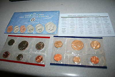 1991 US Coin Mint Set Flatpack 10 Coins 2 Kennedy Half Dollars Free Shipping 002