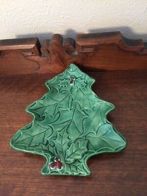 Vintage Ceramic Christmas Tree Shaped Candy Nut Dish With Holly