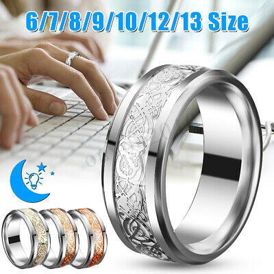 Stainless Steel Men's Band Rings Silver Celtic Dragon Titanium Noctilucent Gift