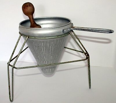 Antique 1930s Primitive Jam Jelly Sieve Colander Strainer Aluminum/Wood 1/2
