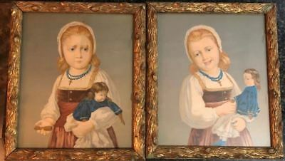 Framed Vintage Hand Painted LIthograph (Two in Set) Girl w Broke and Fixed Doll