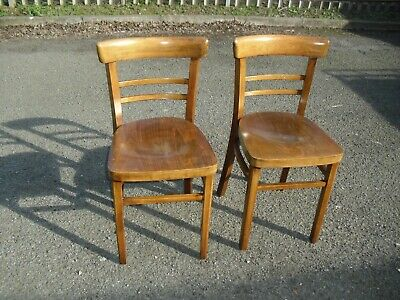 Super Clean Pair Of Vintage Retro Cafe Bistro Beech Chairs