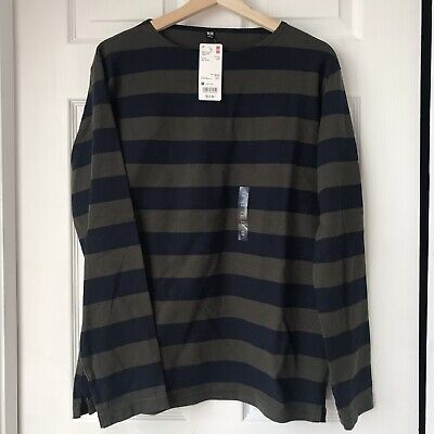 3a6ce499 NWT Uniqlo Washed Striped Long Sleeve T-Shirt In Olive And Navy Mens Medium  M
