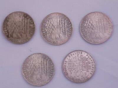 lot de 5 pieces de 100 francs en argent