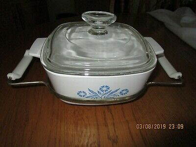 Corning Ware 1 1/2 QT Casserole w/clear lid & Rack, Blue Cornflower