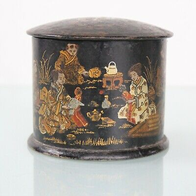 Antique chinese lacquered tea caddy.