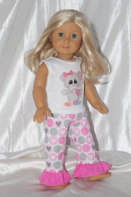 Doll Clothes fits 18inch American Girl Dress Pajamas Hearts Lot