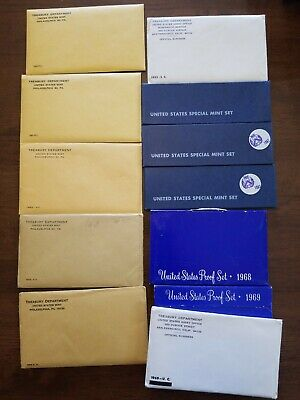 Lot Of Mint Proof Sets In Original Cases US Coins 1960s. 1960-1969
