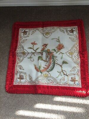 Antique Ancient Chinese Red Silk Rayon Hand Embroidered Cushion Cover NWOT