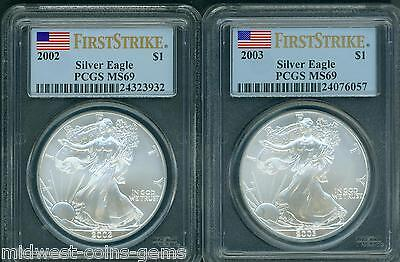 2-COINS: 2003 & 2002 American Silver Eagles ASE S$1 PCGS MS69 FIRST STRIKE FS