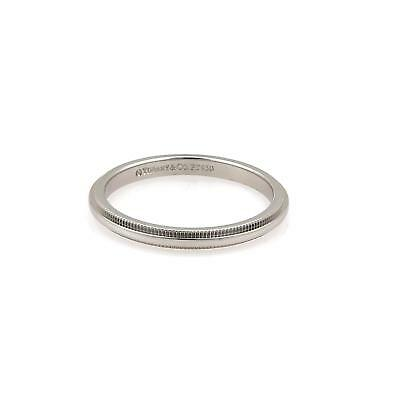7a1104c85 Tiffany & Co. Platinum 2mm Wide Double Milgrain Band Ring Size - 7.75