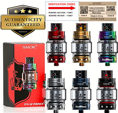 100% Genuine Smok Prince TFV12 Tank 2ml + Fat Boy Glass, Sub Ohm Tank + Coils
