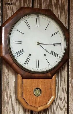 Old Vintage Wall Clock Tin Face Wood Case W/ Key School House Clock