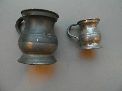 Pewter Jugs X 2 , Quarter Gill And One Gill