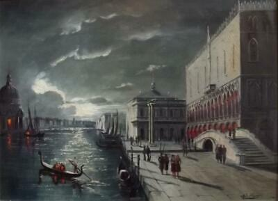 Large Italian Vintage Oil Painting VENICE BY MOONLIGHT Indistinctly Signed