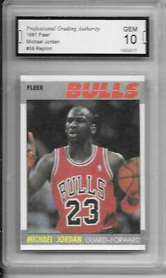 !!!    Pga 10  Graded  1987  Michael Jordan  Fleer   Reprint  Basketball Card $$