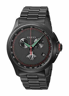 652f93a5858 NIB Gucci Men YA126269 G-Timeless Extra Large Bee Black Stainless Steel  Watch