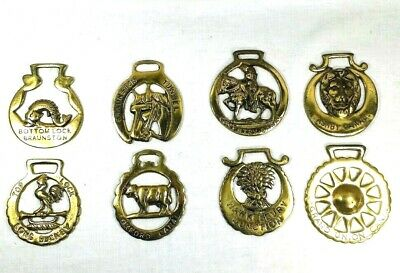 Lot of 8 British Canal Cart Horse Brass Medallions Harness Buckles Wall Art