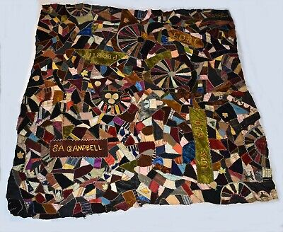 Antique 1890s Crazy Quilt Textile Velvets Silks Dated Peoria approx. 68 x 65