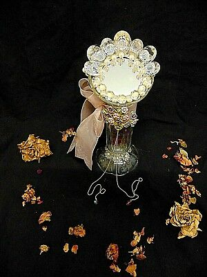 Exquisite French Art Glass Beaded Vintage Boudior Vanity Mirror Stunning Detail