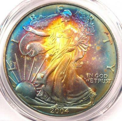 2004 Toned American Silver Eagle Dollar $1 ASE - PCGS MS67 - Rainbow Toning Coin