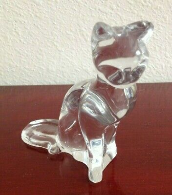 Collectible Seating Up Egyptian Cat Baccarat Crystal Figurine. Signed. France