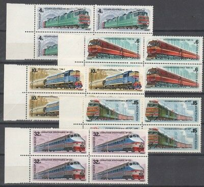 RUSSIA   1982   SC=5044-5048  Block  of  4  MNH  stamps  ELECTRIC  LOCOMOTIVE