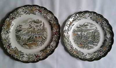 Set 2 Ridgway Heritage Canada Bartletts Bytown Plates Vintage