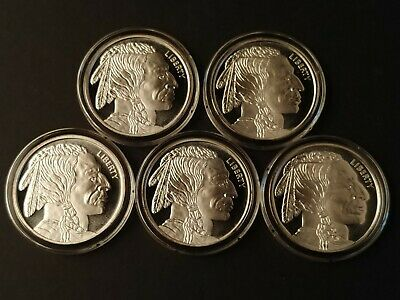 1 oz .999 Silver Indian Head/Buffalo Round - Lot of 5 in Direct Fit Capsule