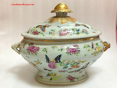 Chinese Qing Qianlong Daoguang Famille Rose Porcelain Tureen and Cover 36cmW