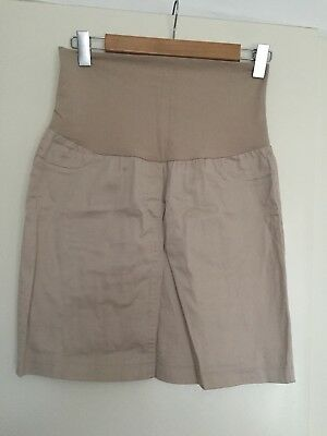 Gorgeous Comfy Pea in a pod womens Tan maternity skirt size 8 Excellent Cond.