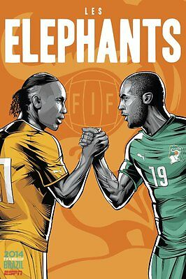 Affiches Costa D'ivoire Les Elephants Didier Drogba Coupe Du Monde 2014 Football