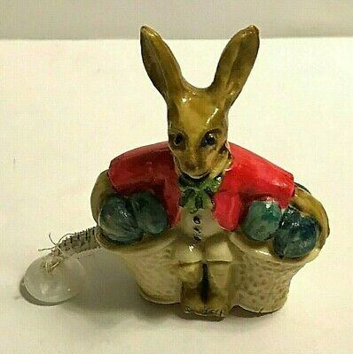 ANTIQUE RABBITT with EGG BASKET TAPE MEASURE c1920 FIGURAL Celluloid ORIGINAL