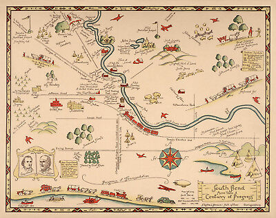 1933 Historical Pictorial Map South Bend Vintage Genealogy Wall Art Poster Decor