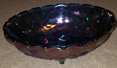 Vintage Iridescent Blue Carnival Glass INDIANA Fruit Bowl
