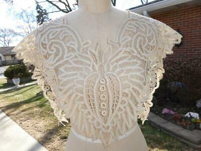Beautiful Antique Handmade Battenburg Tape Lace Bertha Collar Large
