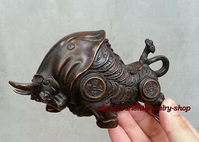 Antiques meaning Money Bull Lucky Bronze statue ox Sculpture collectable