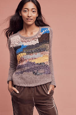 413297c310f5 Anthropologie Fringed Collage Pullover by Hand Knit by Dollie Sz.L New NWT