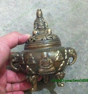 Antiques Old Bronze Kwan-yin lucky incense burner /Censer