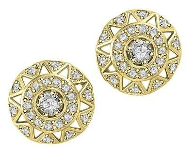 Halo Studs Earrings I1 G 0.70 Ct Round Diamond 14K Yellow Gold Pave Set 11.80MM