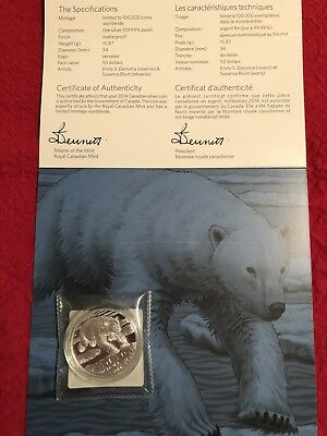 Canada Polar Bear $50 99.99% pure Silver Coin, with Certificate of Authenticity