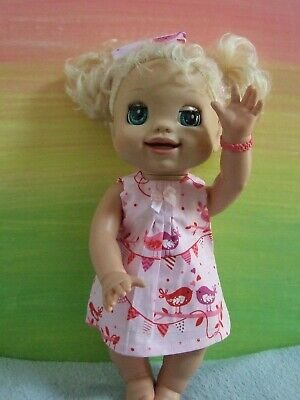 Dolls Clothes for 38cm MED BABY ALIVE DOLL ~ pink shift dress-shorts-headband