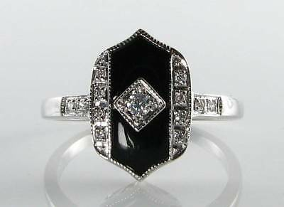 Classic  9K 9Ct White Gold Onyx & Diamond Art Deco Ins Ring Free Resize