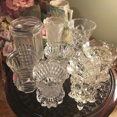 Bulk Lot Of 8 Vintage Small Bud Vases Glass Crystal Cut Pressed Lovely Little