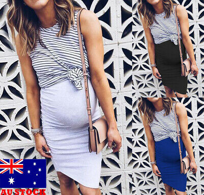 AU Fashion Pregnant Women Sleveeless Maternity Dress Mom Casual Pregnancy Skirts