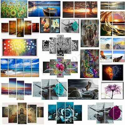 AU Unframed Modern Canvas Painting Flower Animal Scenery Home Wall Decor Gift