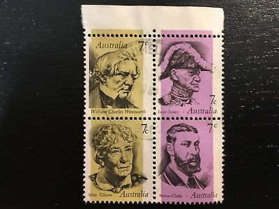 1973 Famous Australians Full Set Of 4 X 7C Stamps In Setenant Block - Fine Used
