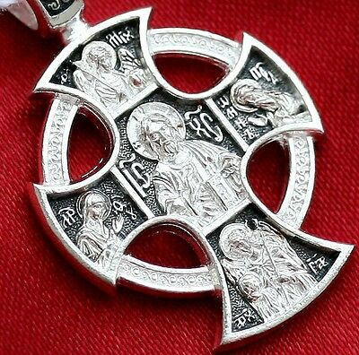 Russian Greek Orthodox Icon Cross, Sterling Silver 925. Old Style - Celtic. Sale