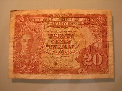 Banknote 1941 Malaya Board of Commissioners of Currency 20 cents